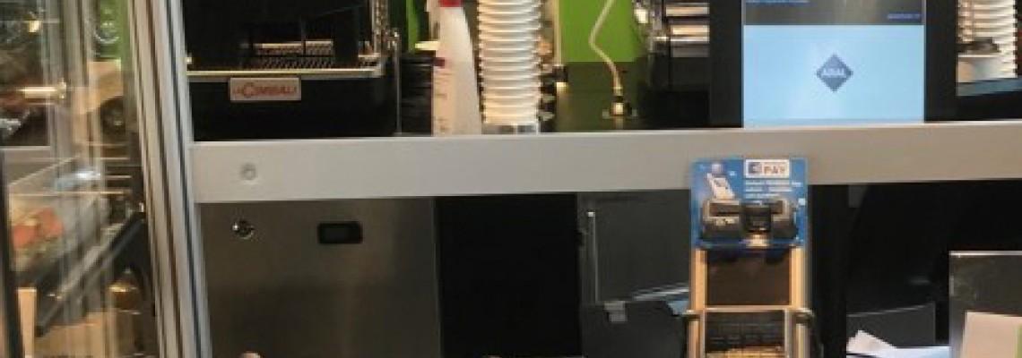 Hygieneschutz und Ladenbau, Systembau aus Aluminium, Stützen mit Glasklemme, Stütze mit Punkthalter
