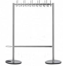 Garderobe INOX-line aus Edelstahl mit Tellerfuss und Schirmmulde