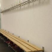 Garderobenanlagen ALU-rond mit Wandgarderoben und Reihen-Garderobenständer