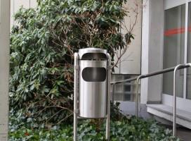 KELLER Ascher-Abfallbehälter INOX-line für den Aussenbereich